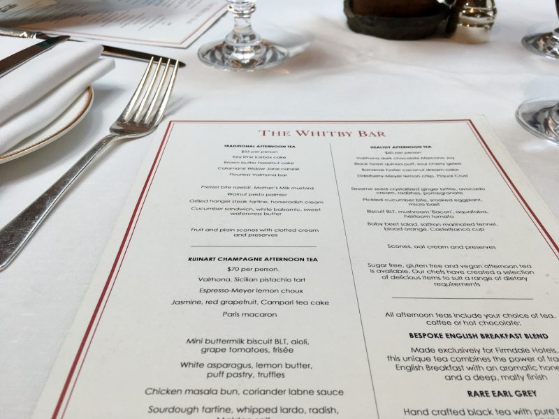 Afternoon Tea at The Whitby Menu