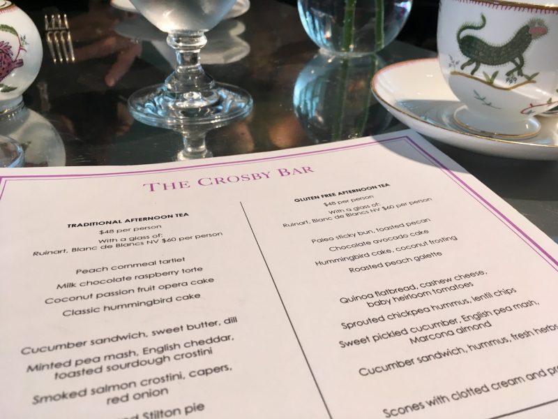 crosby street hotel menu